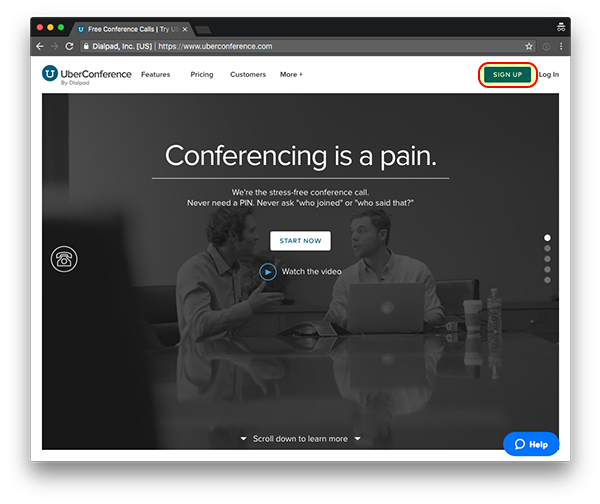 uberconference login page