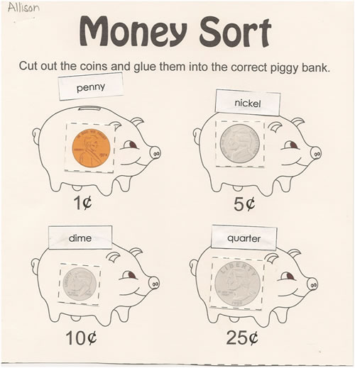 ... to view a full size copy of the Money Sort Worksheet Teacher Exemplar